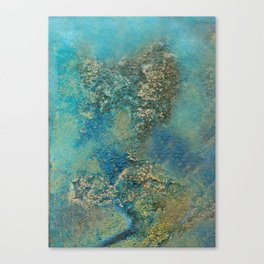 Blue And Gold Modern Abstract Art Painting Canvas Print