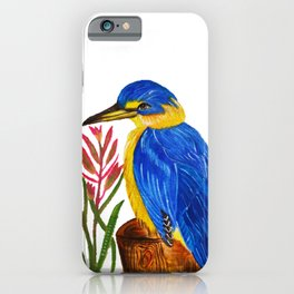 Pretty Kingfisher with Kangaroo Paw flowers iPhone Case