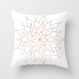 Mandala Rose Gold Pink Star Throw Pillow
