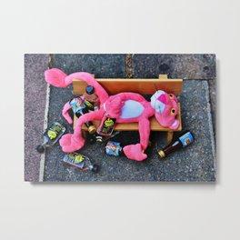 Drunk Pink Panther Metal Print