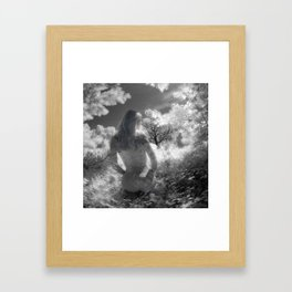 0250-GI BW Infrared Fine Art Nude Seeing Into Oneself Framed Art Print