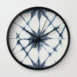 Shibori Starburst Indigo Blue on Lunar Gray Wall Clock
