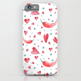 Seamless watercolor pattern with hearts and peppers.  iPhone Case