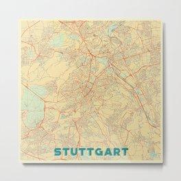 Stuttgart Map Retro Metal Print