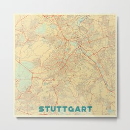 Stuttgart Map Retro Metal Print