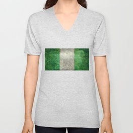 National flag of Nigeria, Vintage textured version Unisex V-Neck