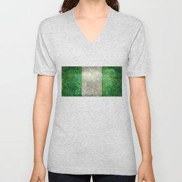 National flag of Nigeria, Vintage textured version Unisex V-Neck