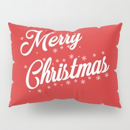 Merry Christmas with Snow Flakes on Red Background Pillow Sham