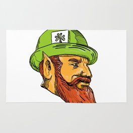 Leprechaun Head Side Drawing Rug