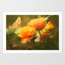 Flowers & Butterflies Art Print