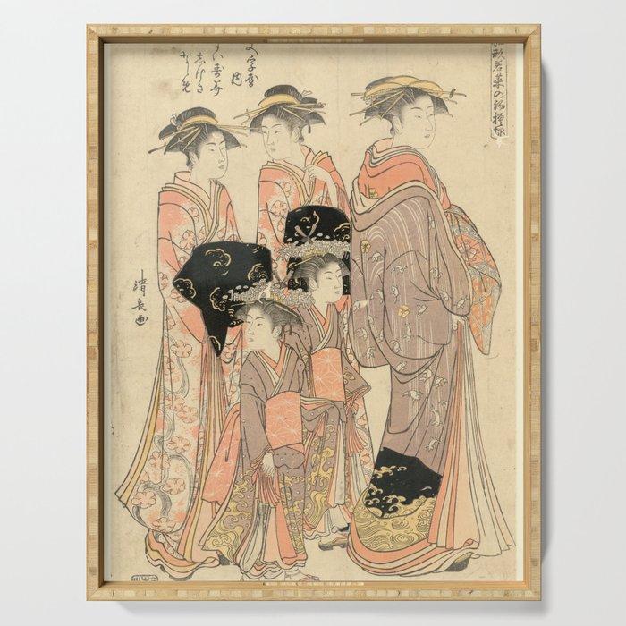 The Courtesans Maizumi Of The Daimonjiya Brothel Serving Tray