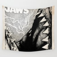 jaws Wall Tapestries featuring Jaws by Sinpiggyhead