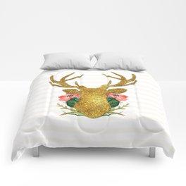 Floral Gold Deer Comforters