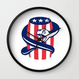 Viper Coiling Up Keg USA Flag Retro Wall Clock