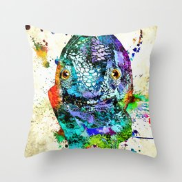Chameleon Front View Grunge Throw Pillow