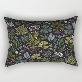 Herbarium ~ vintage inspired botanical art print ~ black Rectangular Pillow