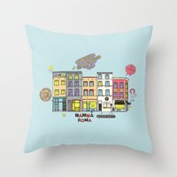 brussels Throw Pillows featuring Brussels buildings by zldrawings