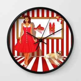 Series: Woman Quartet, No.1 in red and white Wall Clock