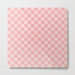 Large Lush Blush Pink Checkerboard Squares Metal Print