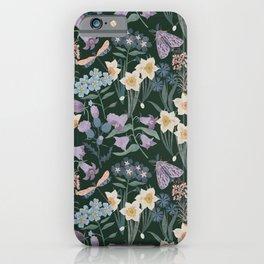 Wildflowers, moth, dragonfly on dark iPhone Case