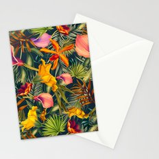 Tropical flowers and leaves pattern Stationery Cards