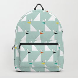 Seagulls and Sails Green Backpack