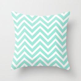 Chevron Stripes : Seafoam Green & White Throw Pillow