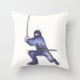 Blue Ninja Throw Pillow