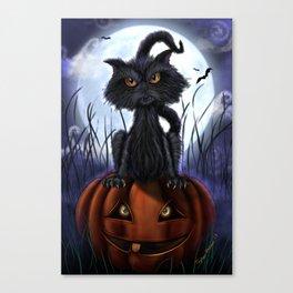 Rags Black Halloween Cat by Topher Adam 2017 Canvas Print