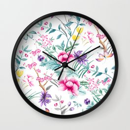 Chinoiserie Decorative Floral Motif Wall Clock