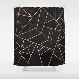 Velvet Black & Rose Gold Shower Curtain