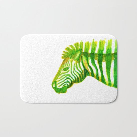 Zebra Watercolor Print Bath Mat