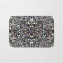 Sparkly colourful silver mosaic mandala Bath Mat