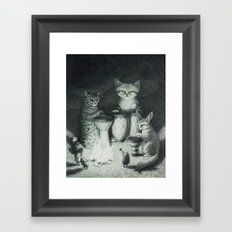 BONGO PAWS: Animal Drum Circle in the Desert with Sand Cat, Fennec Fox, and Hedgehogs Framed Art Print