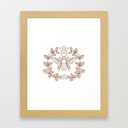 Bumblebee Coffee Flower Leaves Icon Framed Art Print