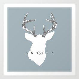 White Deer with Grey Antlers on Blue Art Print