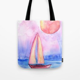 sail under the moon Tote Bag
