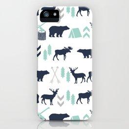 Camper pattern minimal nursery basic grey navy mint white camping cabin chalet decor iPhone Case