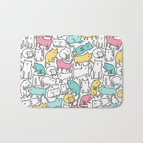 Cute kitties. Cats pattern. Bath Mat