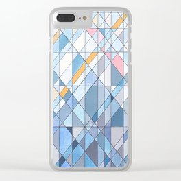 Triangle Pattern no.17 Light Blues Clear iPhone Case