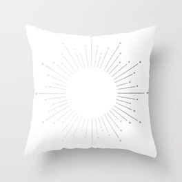 Sunburst Moonlight Silver on White Throw Pillow