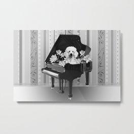 Piano Music Poodle Lotos Flowers black & white Metal Print