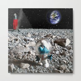 Smurf in the Moon Metal Print
