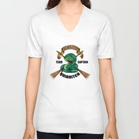 quidditch V-neck T-shirts featuring Slytherine quidditch team captain by JanaProject