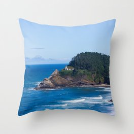 From Far Away - Heceta Head Lighthouse Throw Pillow