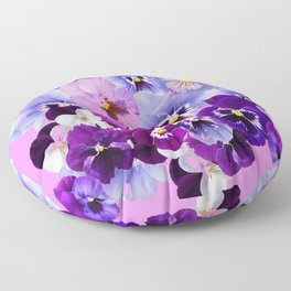 SPRING COLLECTION PURPLE-PINK PANSIES Floor Pillow