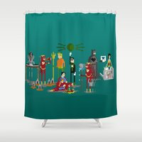 aquaman Shower Curtains featuring Office Party by Midgetcorrupter