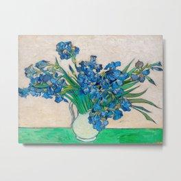 Irises by Vincent van Gogh Oil Painting Still Life Floral Arrangement In Vase Metal Print