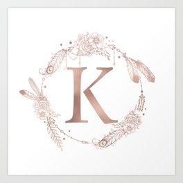 Letter K Rose Gold Pink Initial Monogram Art Print