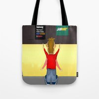 subway Tote Bags featuring Subway by Dano77